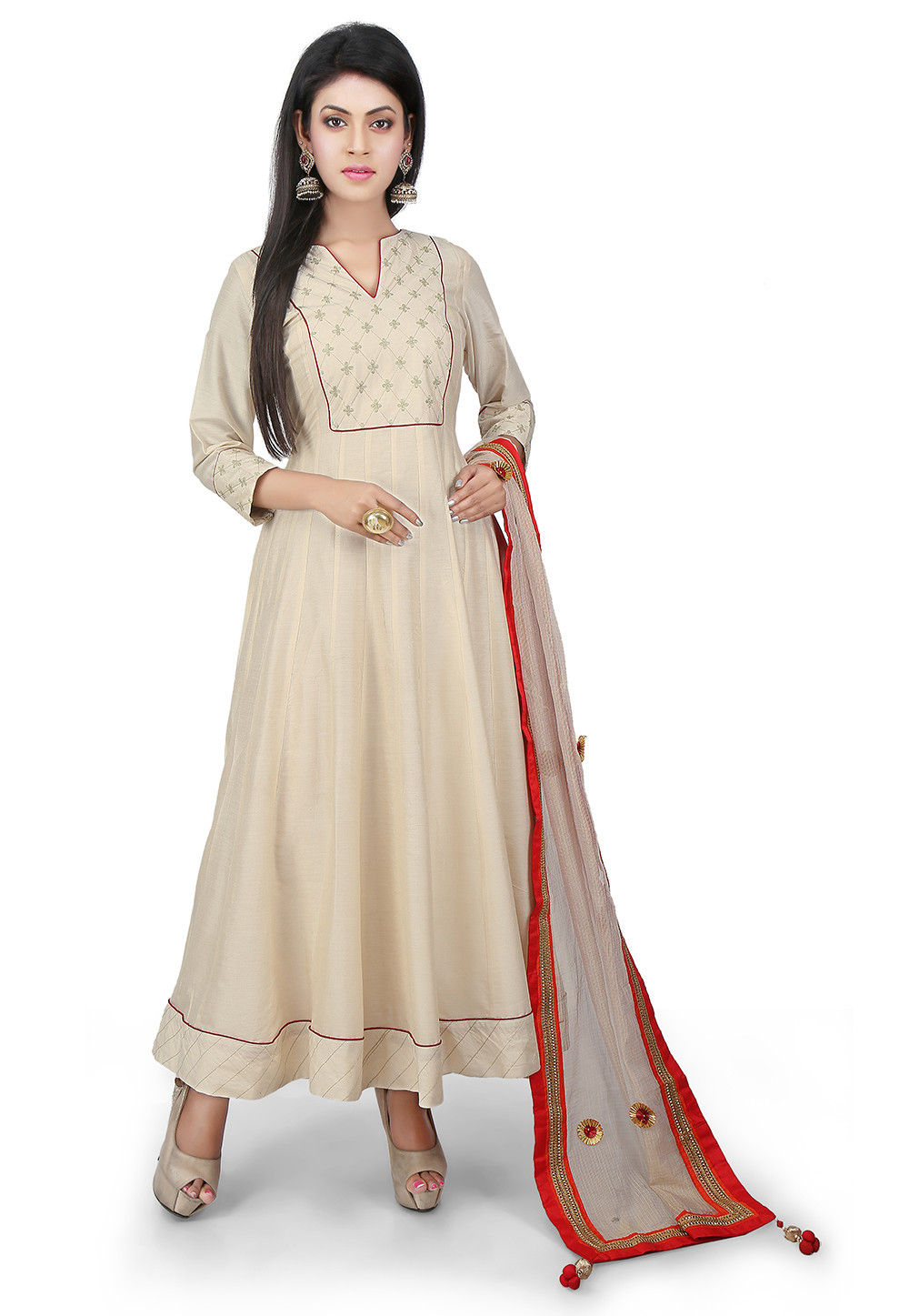 Embroidered Cotton Silk Anarkali Suit in Off White