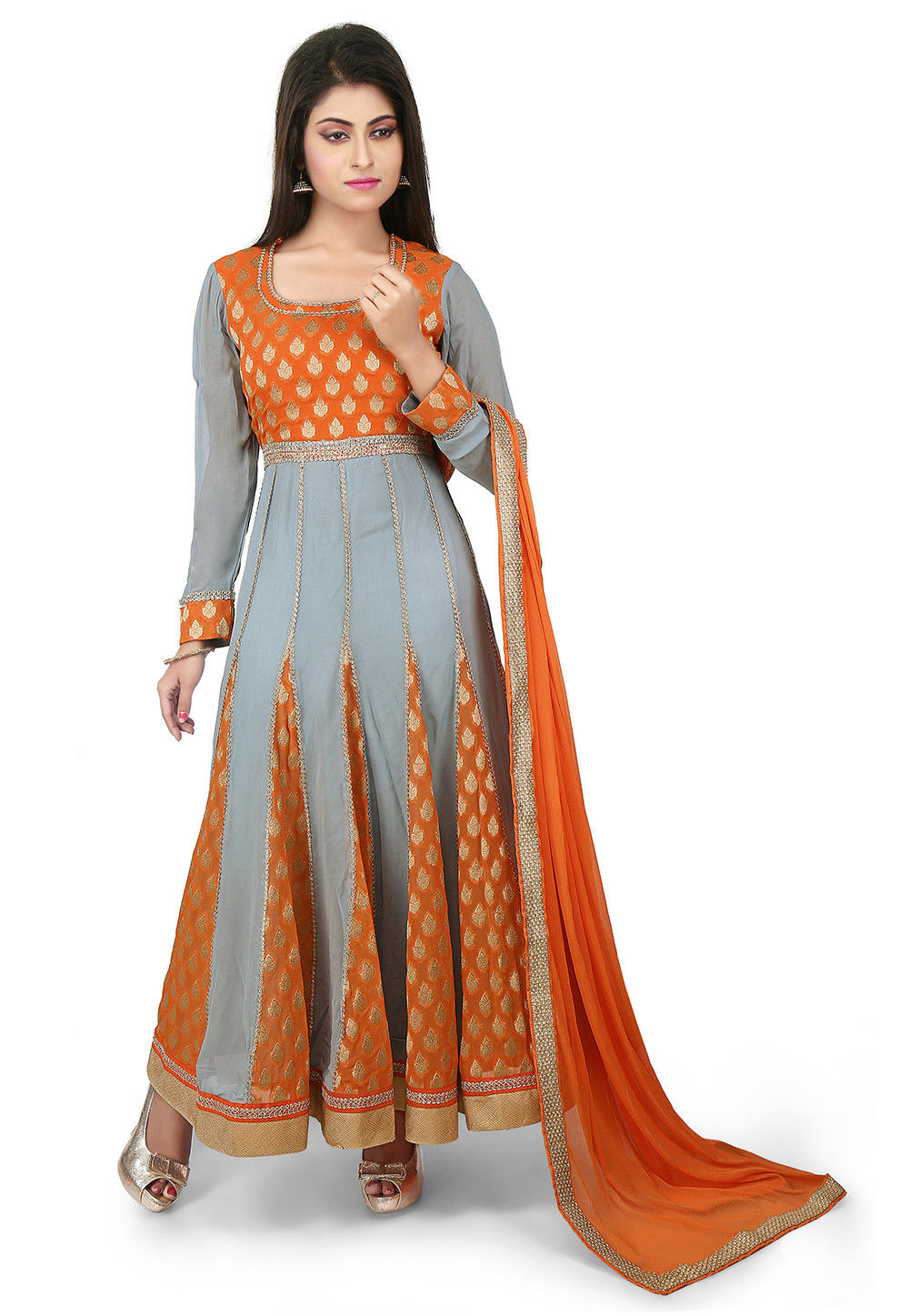 Woven georgette and Viscose Georgette Jacquard Anarkali Suit in Grey and orange