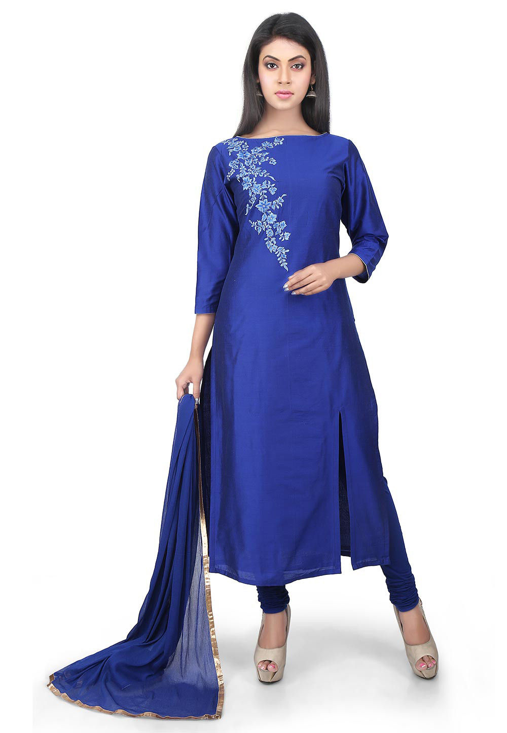 Plain Cotton Silk Straight Suit in Royal Blue