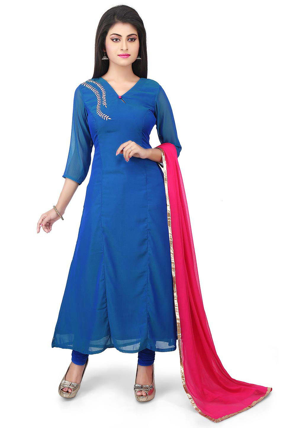 Plain Georgette Straight Suit in Blue
