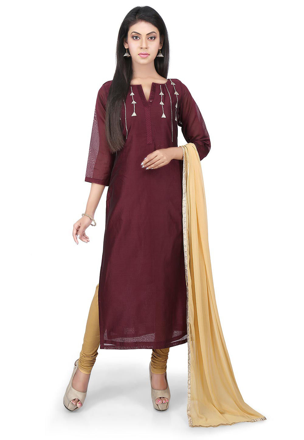 Plain Chanderi Cotton Straight Suit in Brown