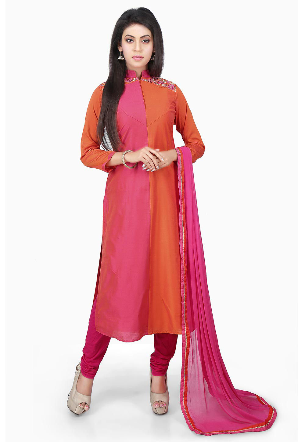 Embroidered Neckline Cotton Silk Straight Suit in Pink
