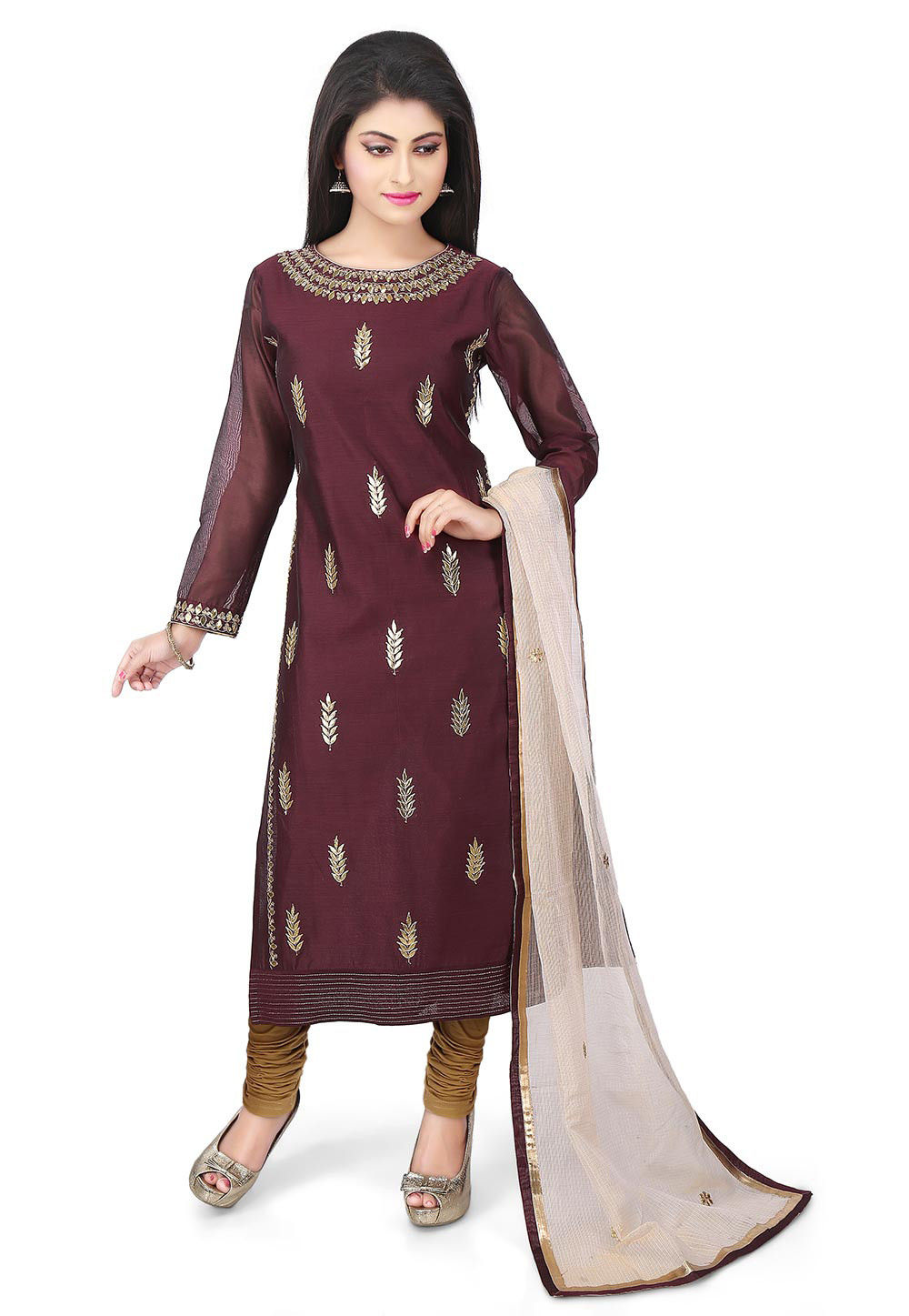 Hand Embroidered Chanderi Cotton Straight Suit in Brown