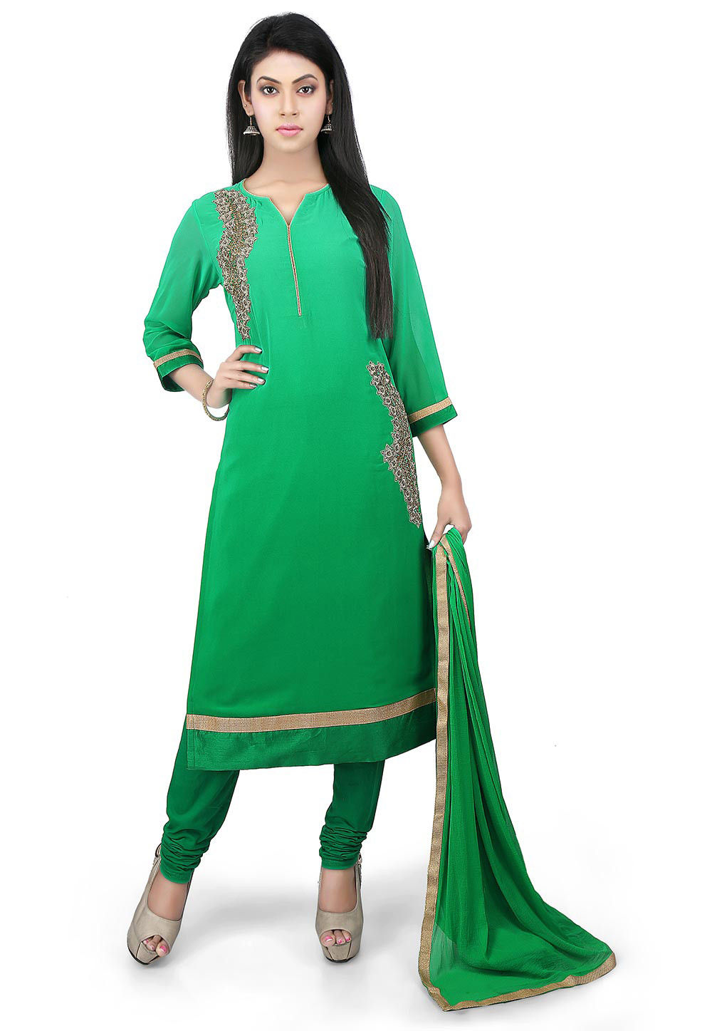 Hand Embroidered Georgette Straight Suit in Green Ombre