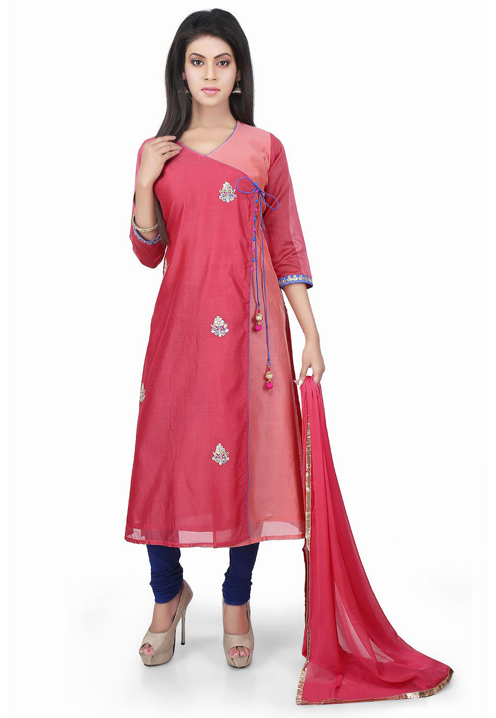 Hand Embroidered Chanderi Angrakha Style Suit Coral Pink
