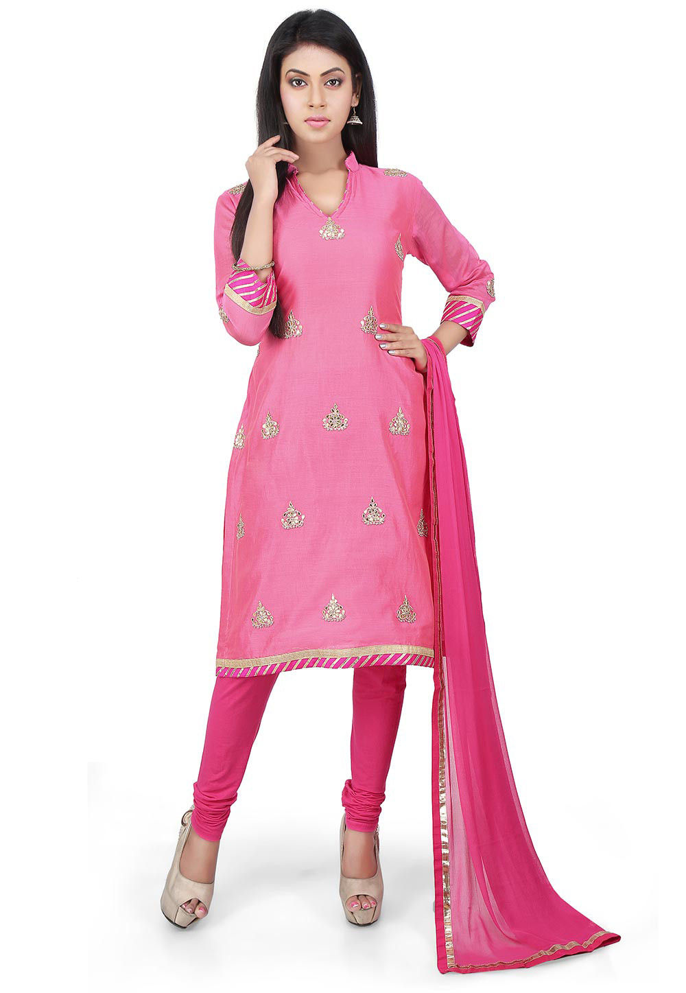 Gota Patti Chanderi Cotton Straight Suit in Pink
