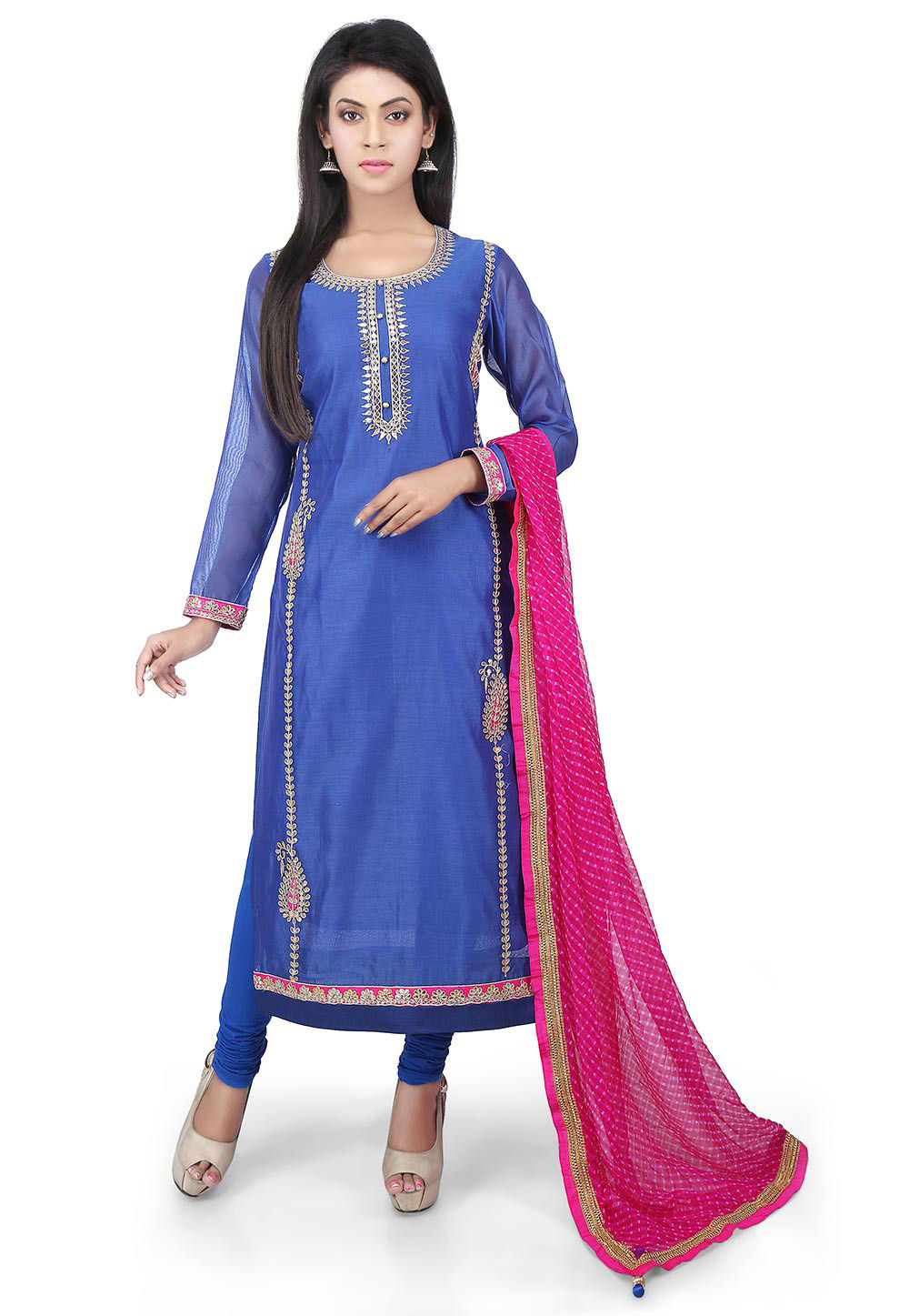 Hand Embroidered Chanderi Cotton Straight Suit in Royal Blue