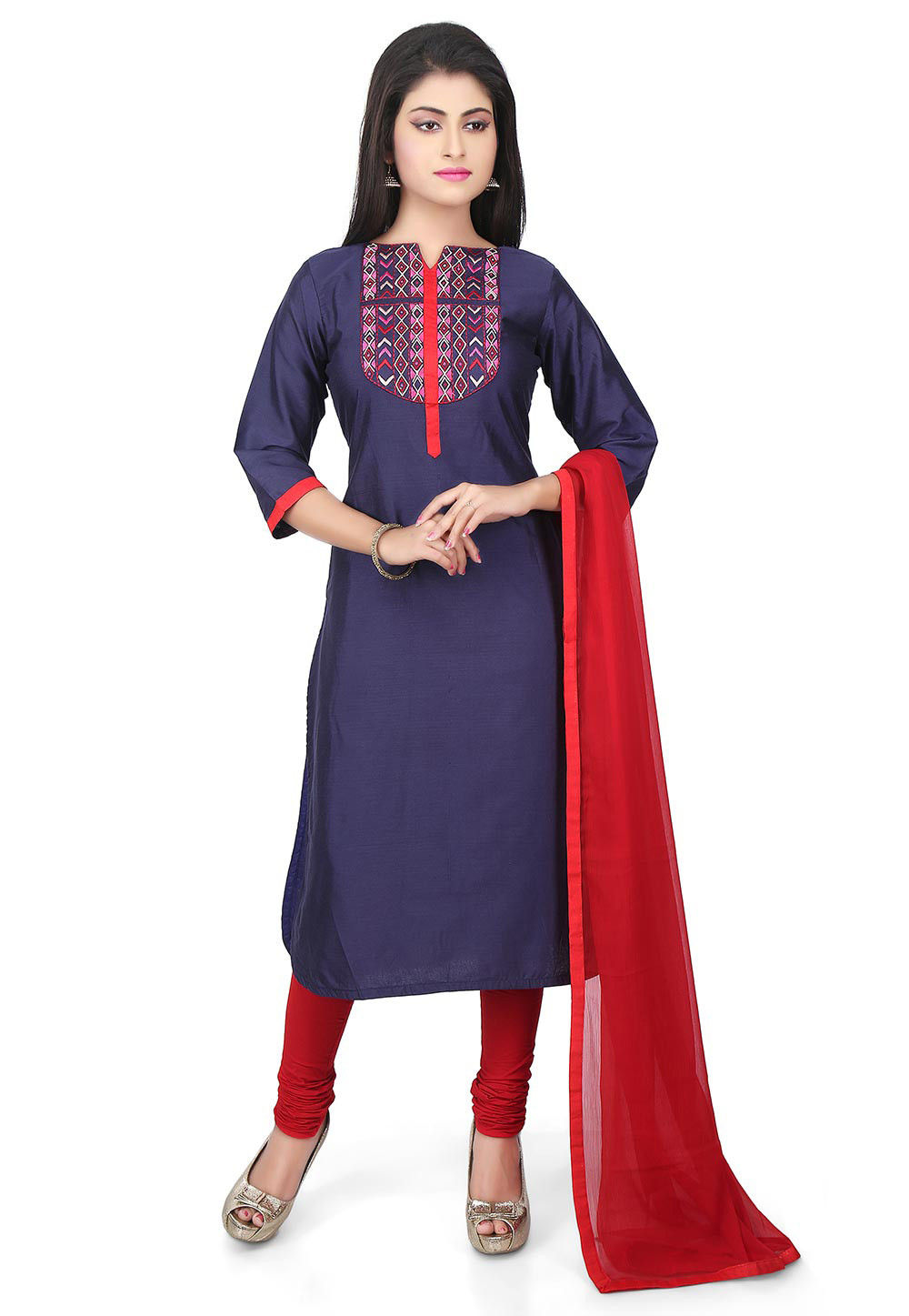 Embroidered Yoke Cotton Silk Straight Suit in Blue