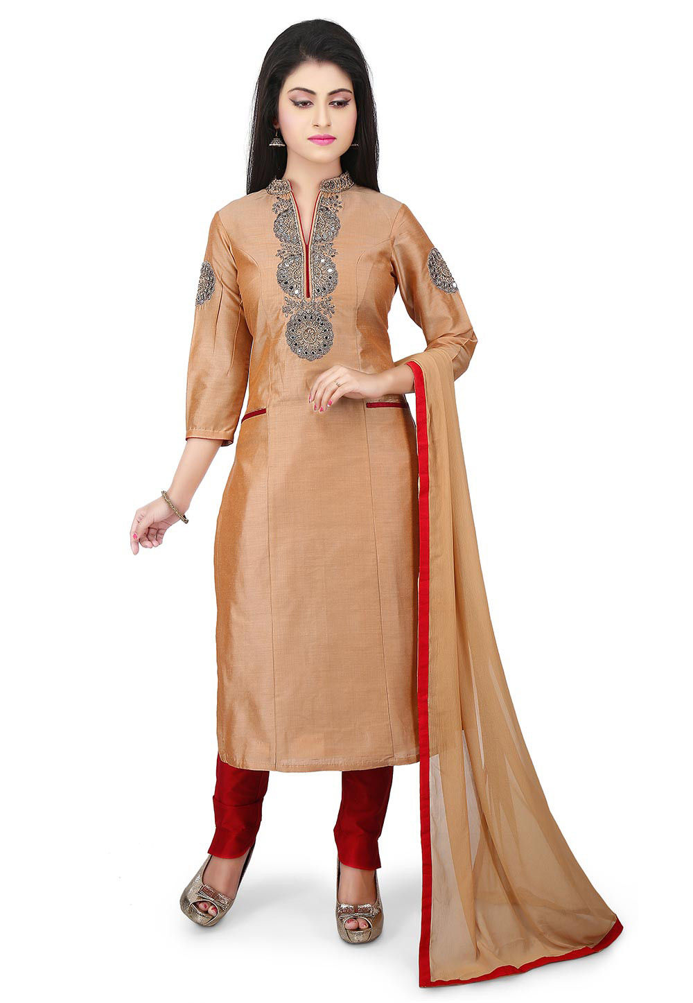 Embroidered Cotton Silk Straight Suit in Beige