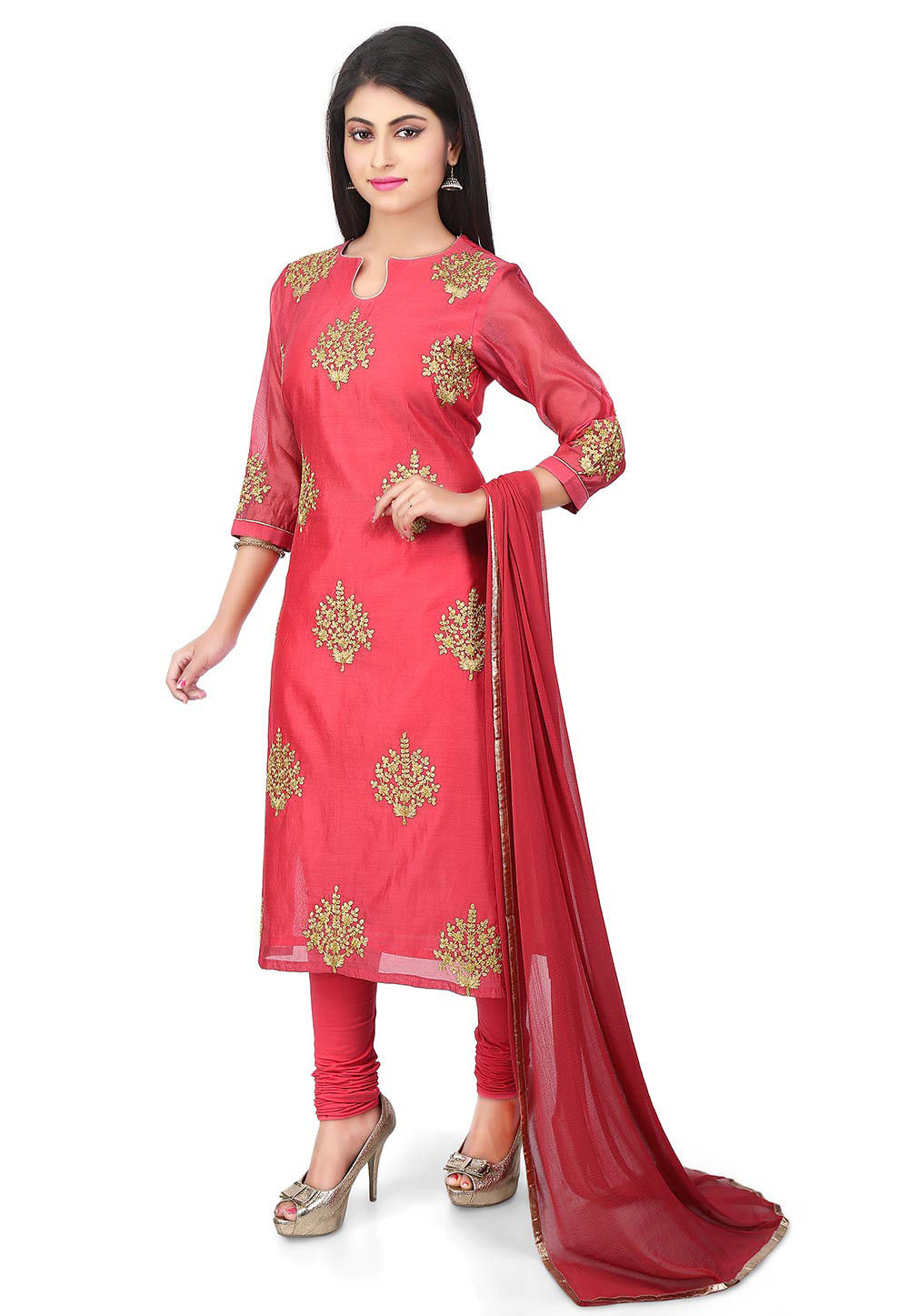 Embroidered Chanderi Cotton Straight Suit in Coral Red