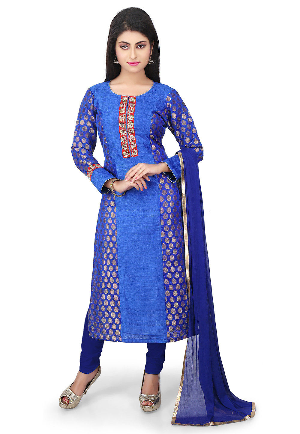 Woven Art Silk Jacquard Straight Cut Suit in Blue