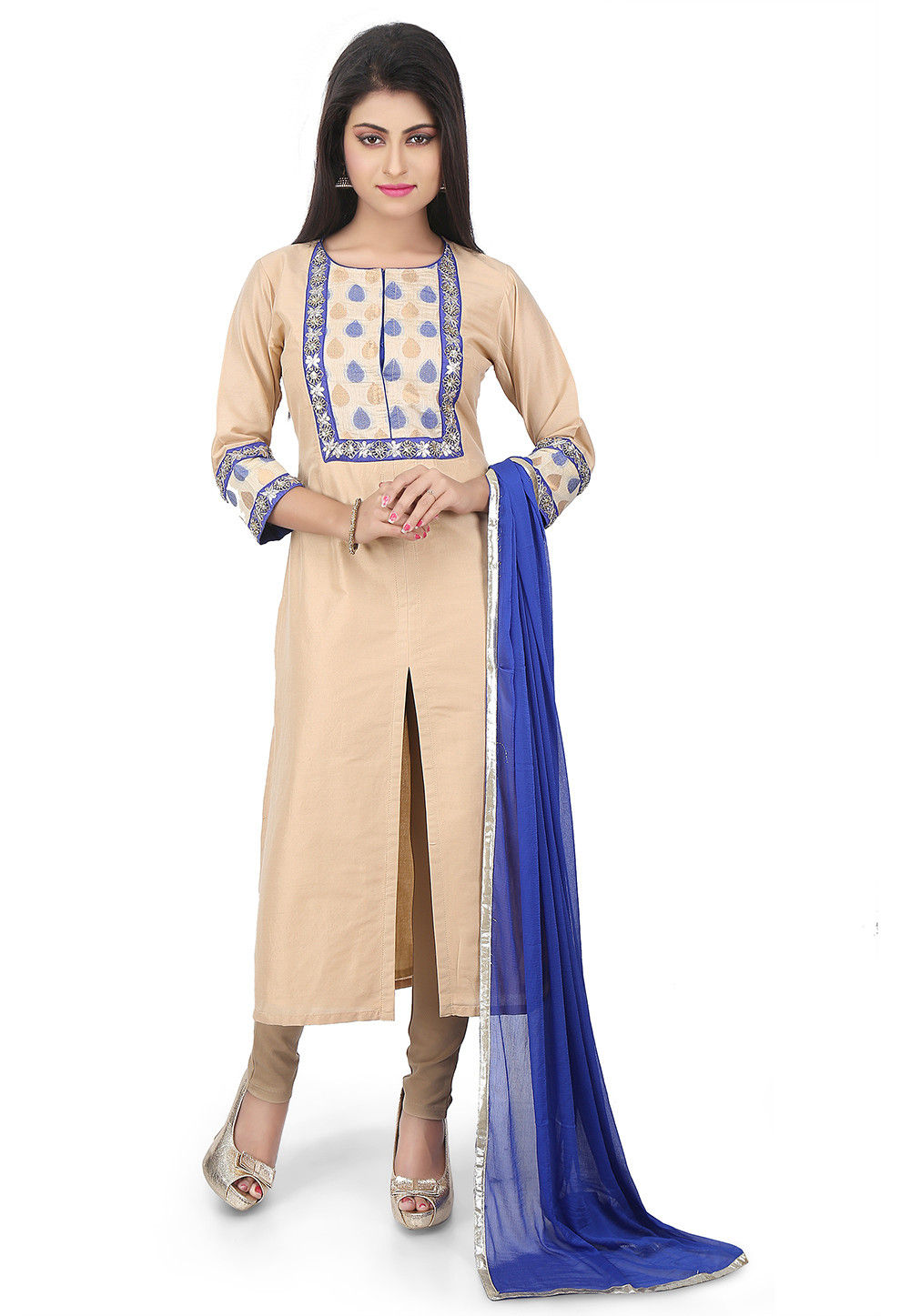 Plain Cotton Silk Straight Cut Suit in Beige