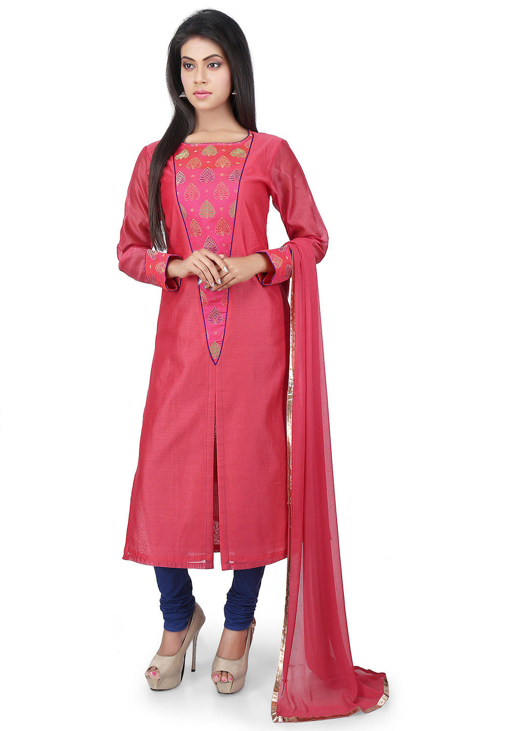 Plain Art Chanderi Cotton Straight Cut Suit in Coral
