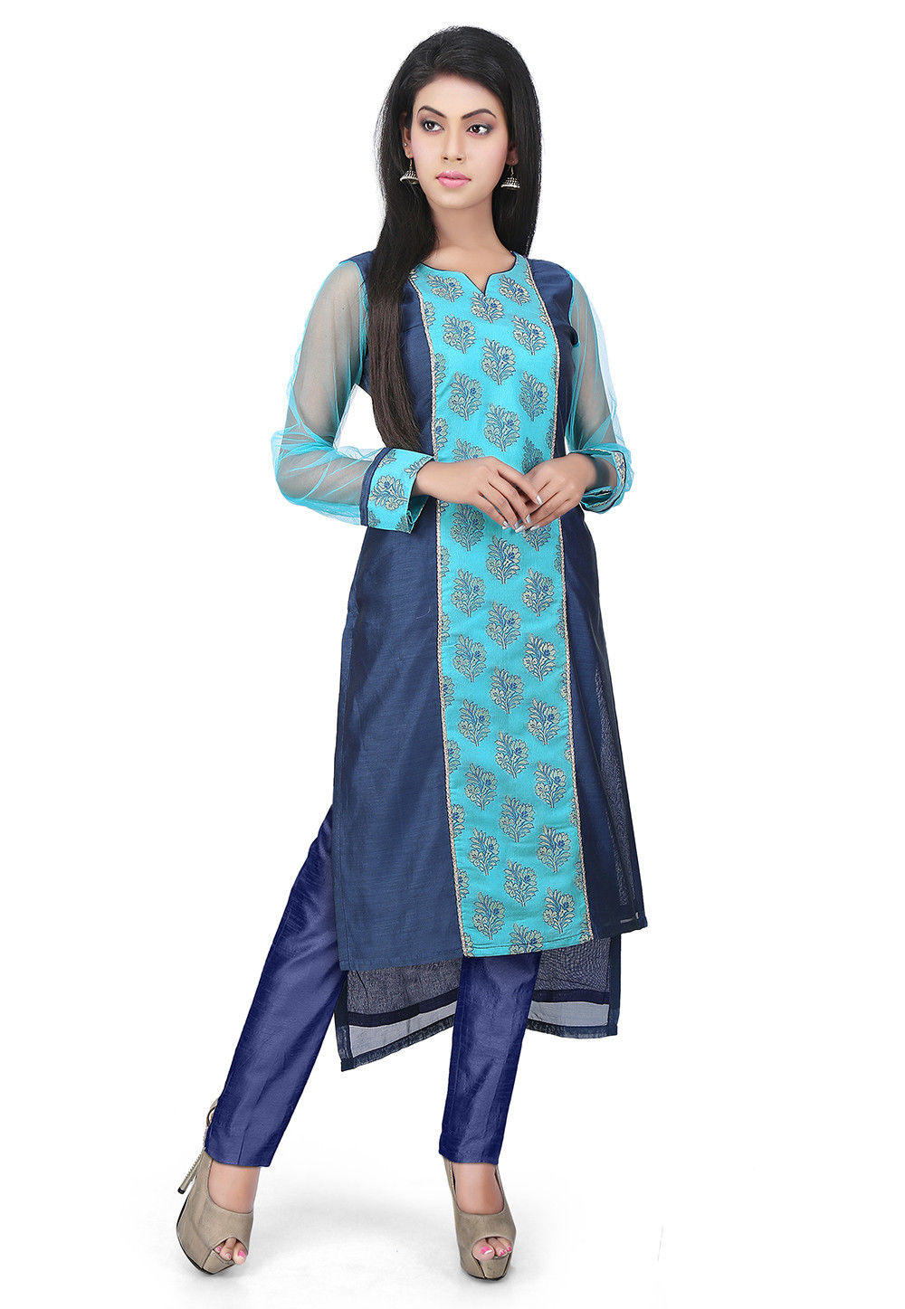 Woven Chanderi Cotton Pakistani Suit in Blue