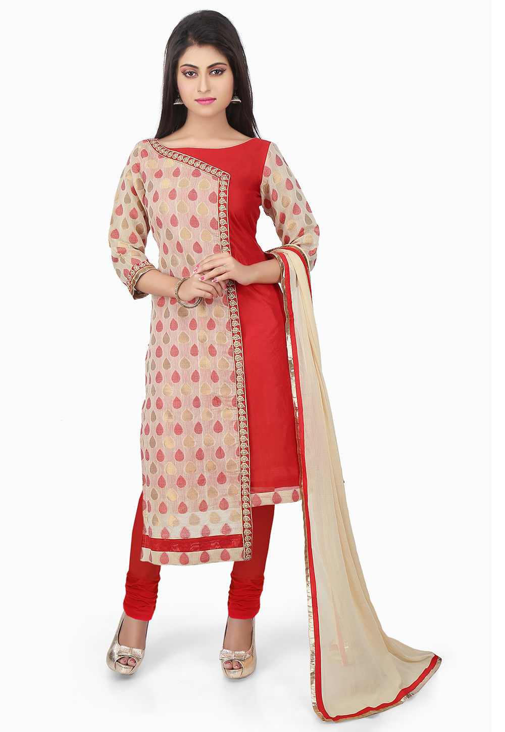 Woven Chanderi Silk Straight Cut Suit in Beige and Red