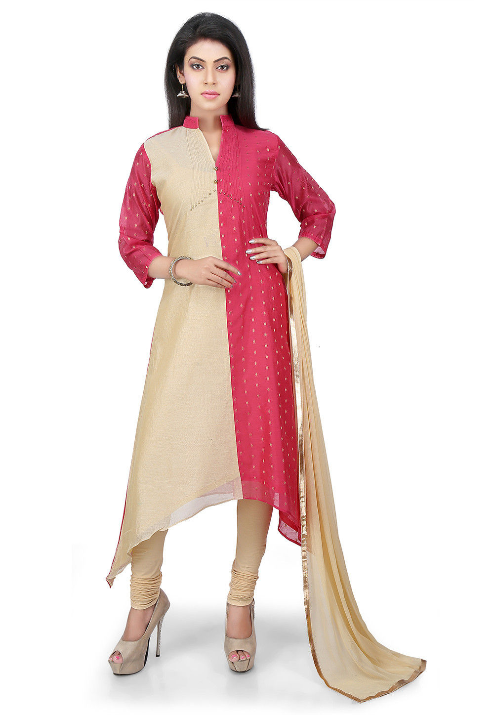 Woven Chanderi Silk A Line Suit in Beige and Pink