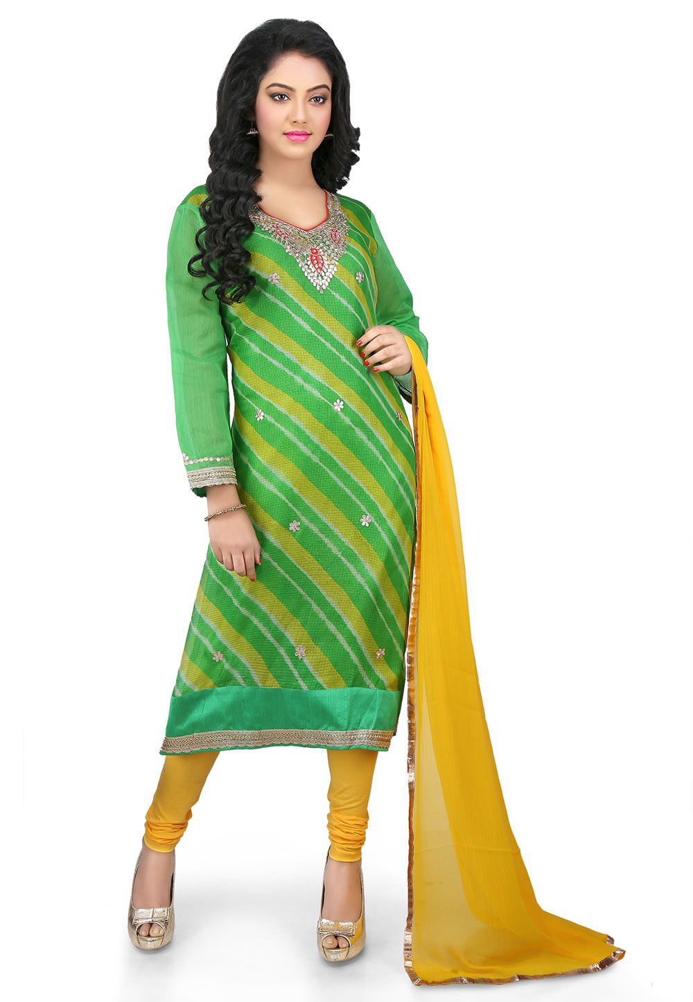 Leheriya Pure Kota Silk Straight Cut Suit in Green