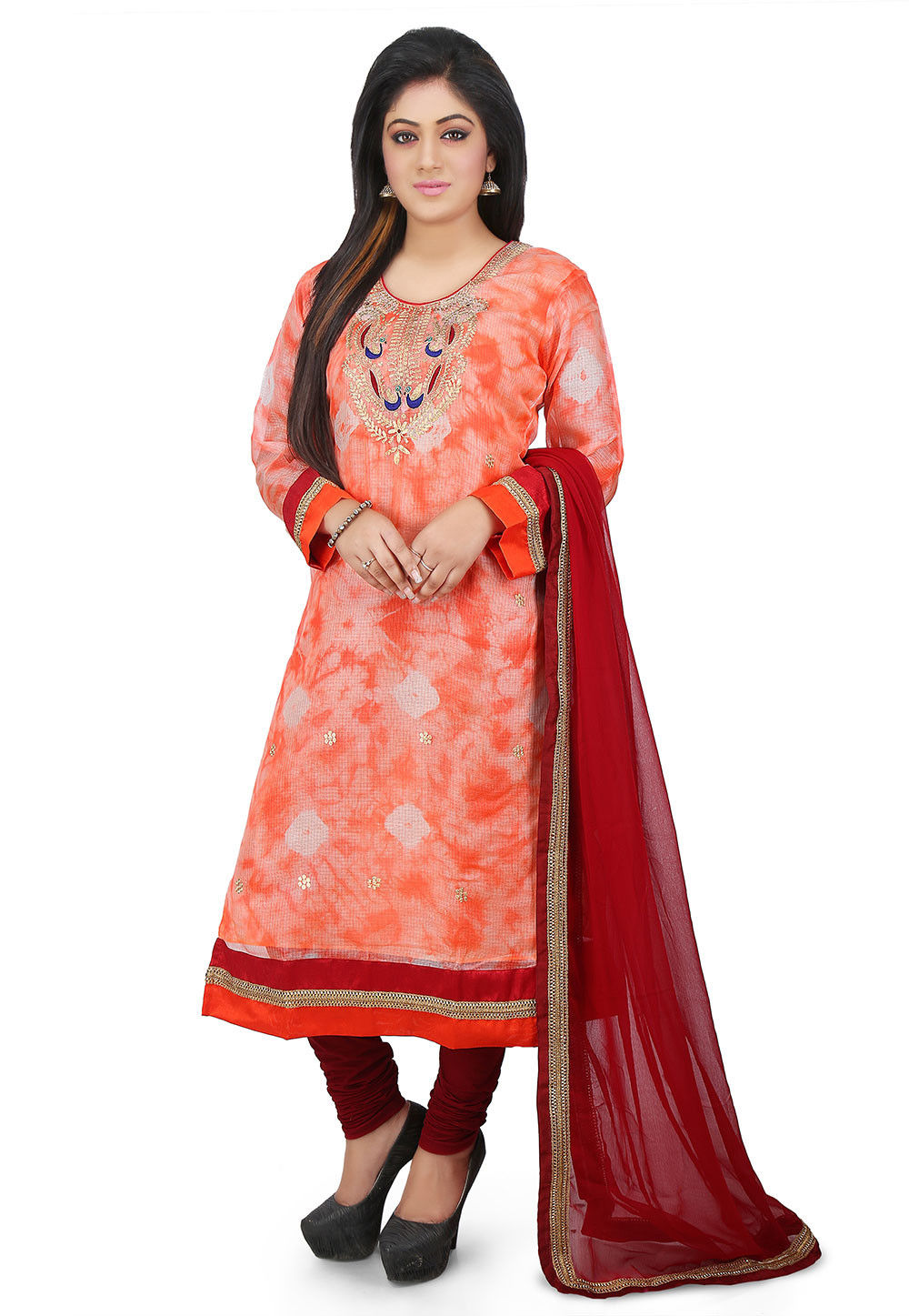 Tie N Dye Pure Kota Silk Straight Cut Suit in Peach