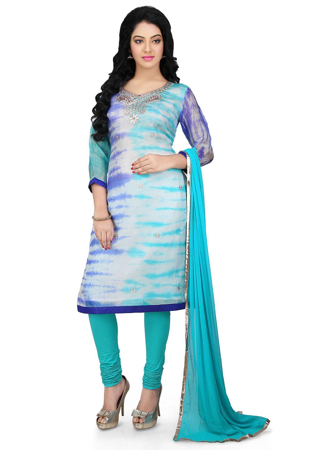 Tie N Dye Pure Kota Silk Straight Cut Suit in Blue