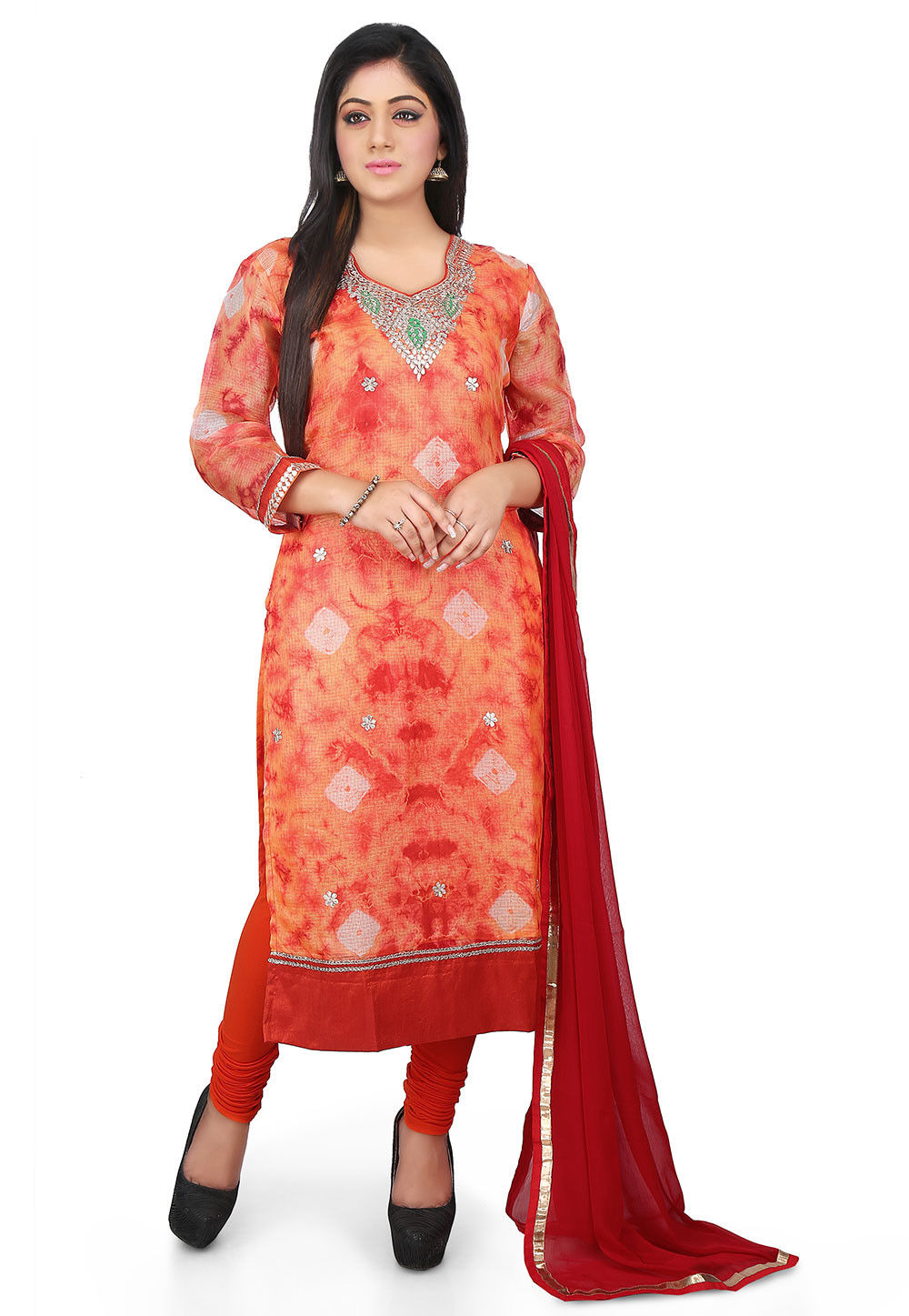 Tie N Dye Pure Kota Silk Straight Cut Suit in Orange