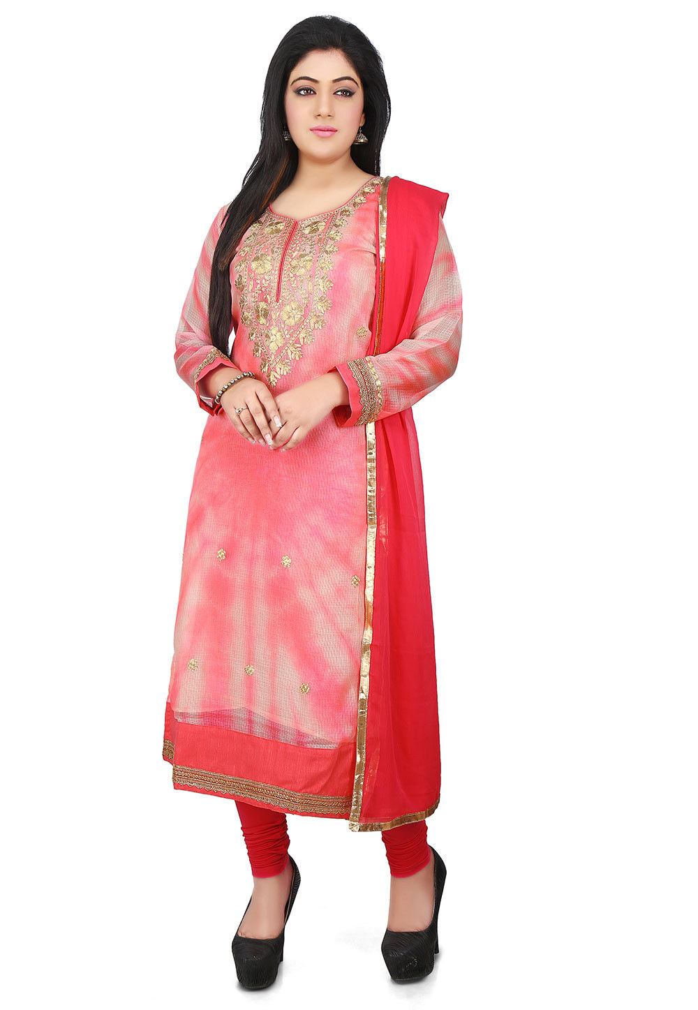 Tie N Dye Pure Kota Silk Straight Cut Suit in Coral