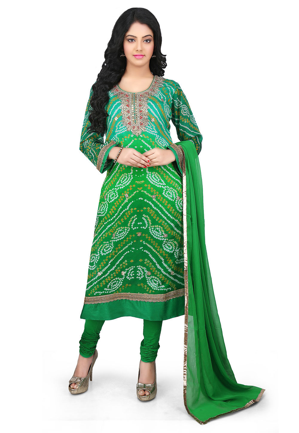 Bandhej Pure Crepe Chinon Straight Cut Suit in Green