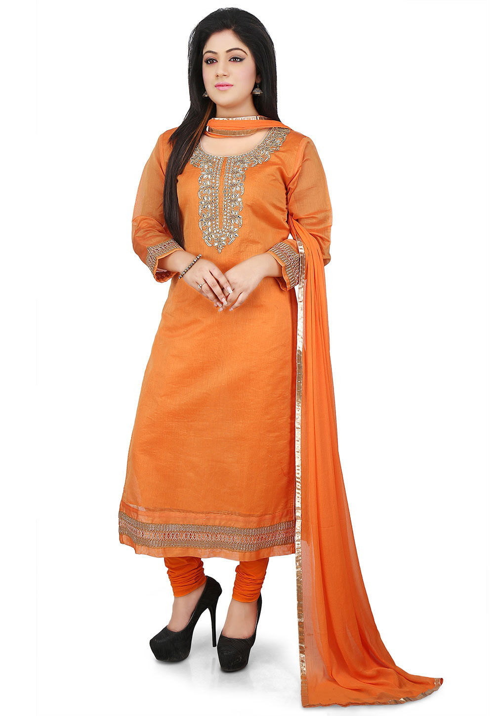 Plain Art Chanderi Cotton Straight Cut Suit in Orange