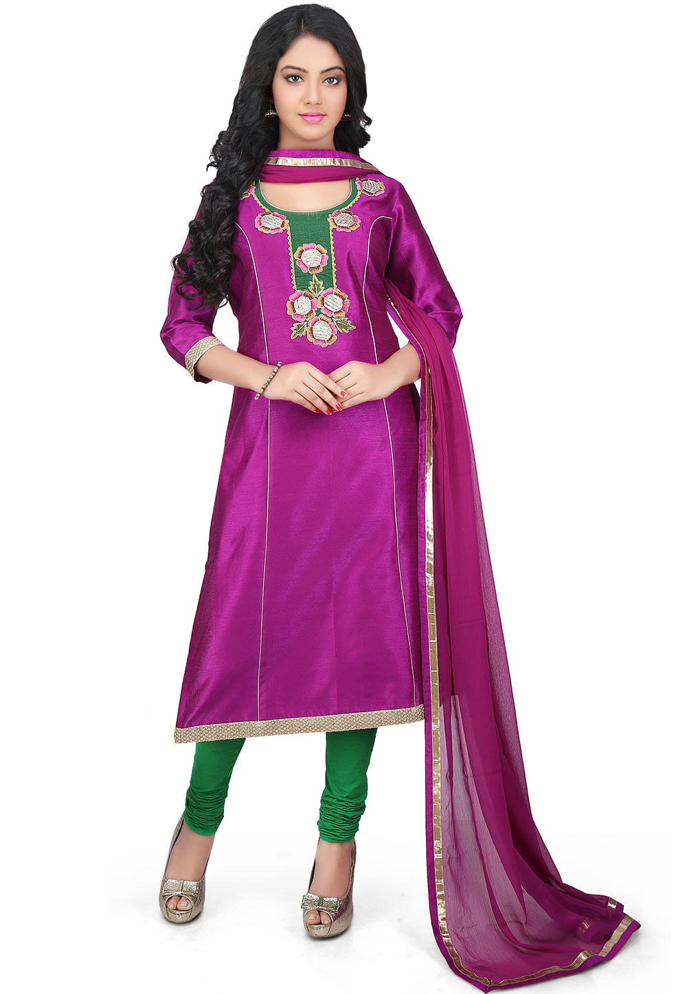 Plain Art Dupion Silk Straight Cut Suit in Magenta