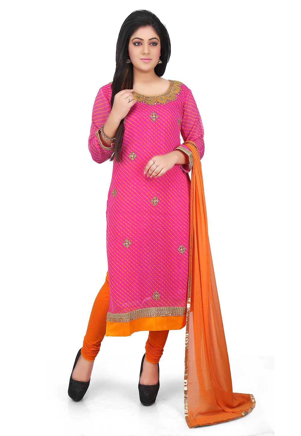 Leheriya Georgette Straight Cut Suit in Pink