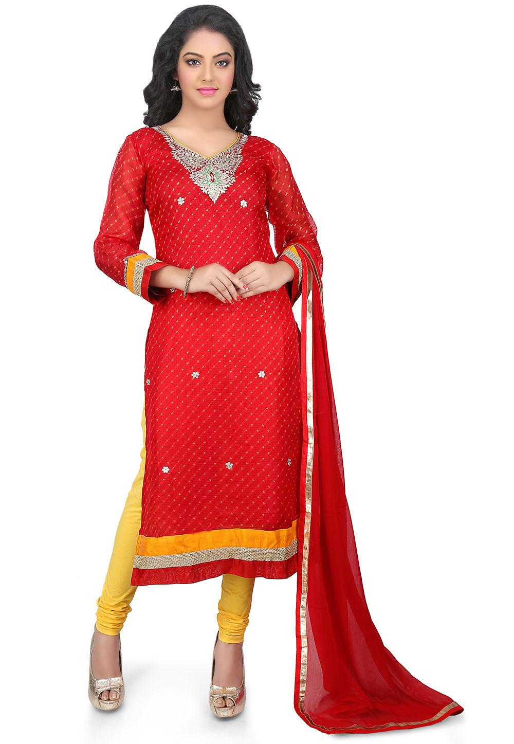 Leheriya Pure Kota Silk Straight Cut Suit in Red
