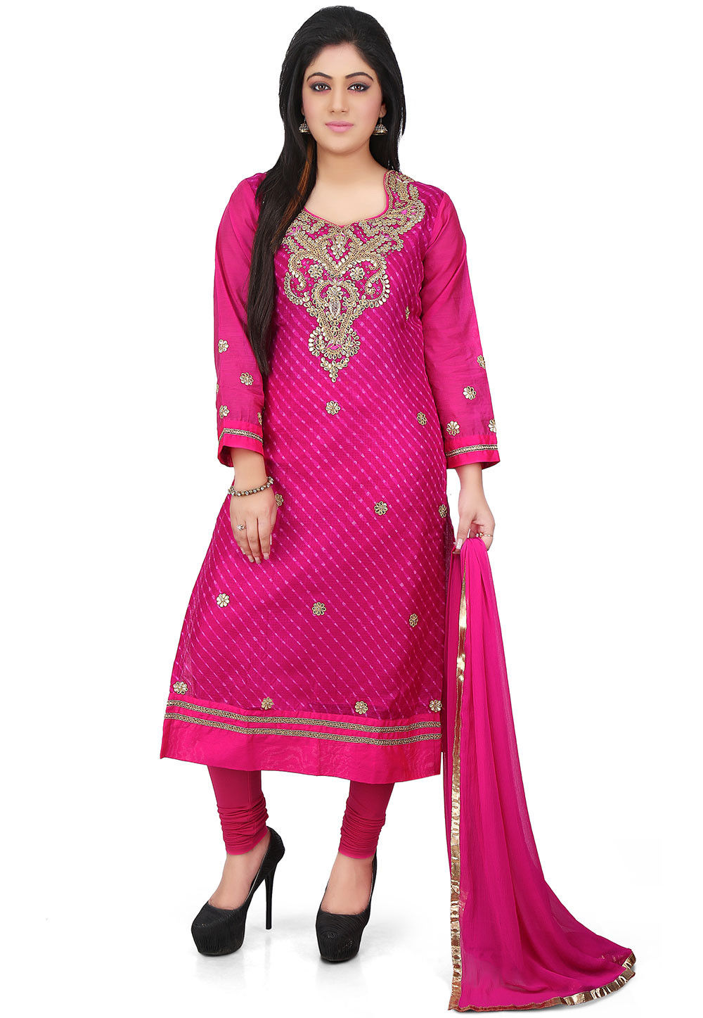Leheriya Pure Kota Silk Straight Cut Suit in Fuchsia