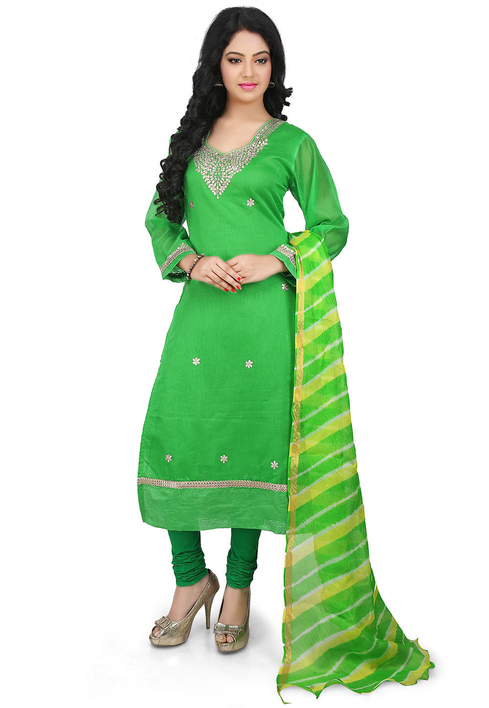 Embroidered Art Chandari Cotton Straight Cut Suit in Green