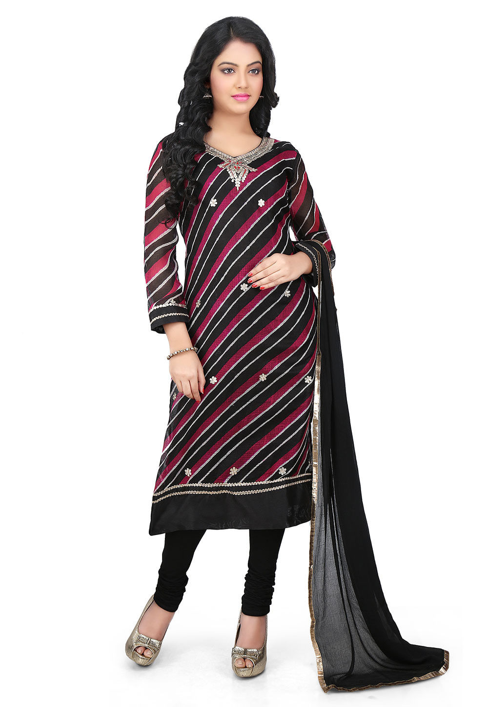 Embroidered Pure Kota Silk Straight Cut Suit in Black and Red