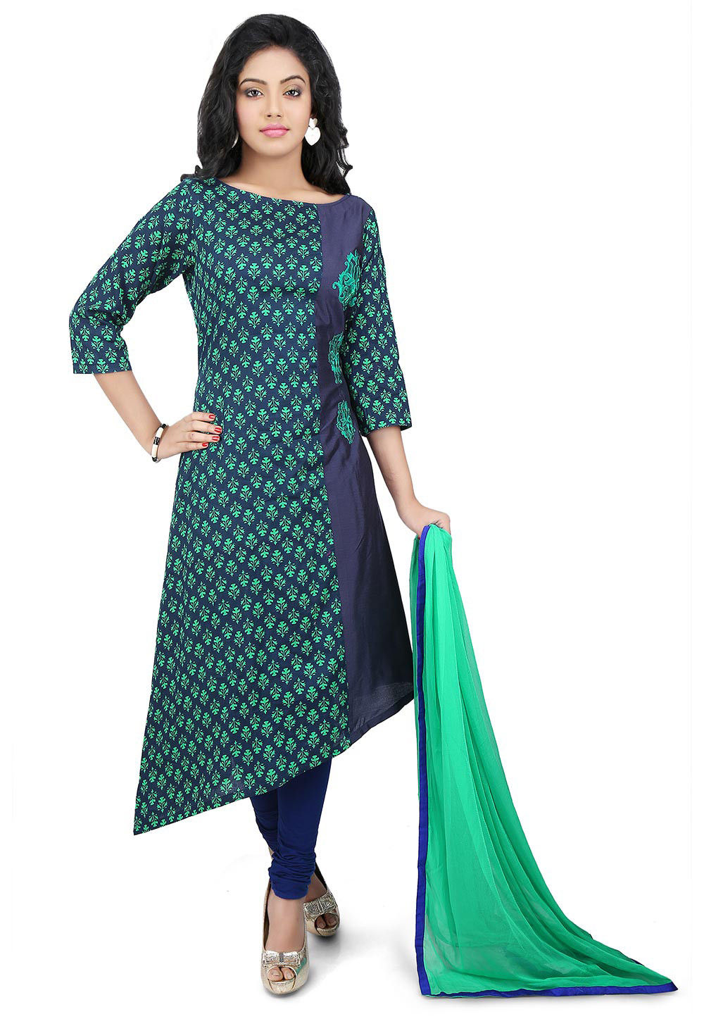 Embroidered Side Panel Cotton A Line Suit in Green and Blue