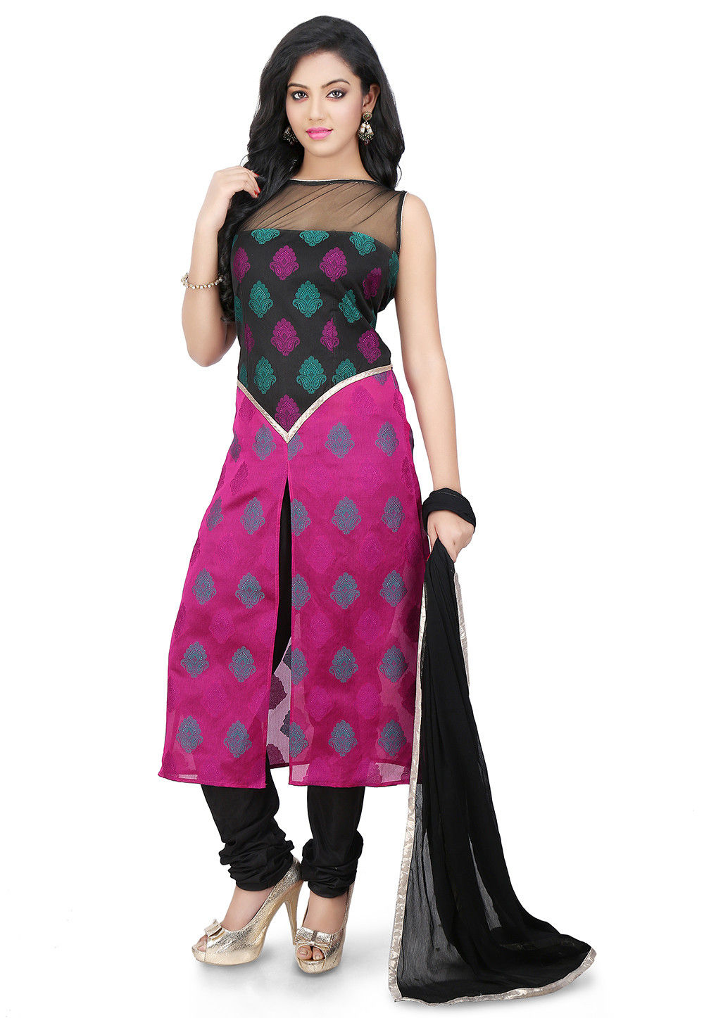 Woven Dupion Silk Straight Suit in Black and Magenta