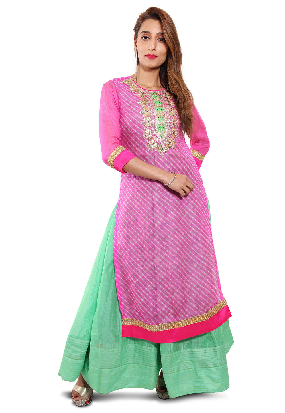 Embroidered Neckline Pure Kota Silk Abaya Style Suit in Pink