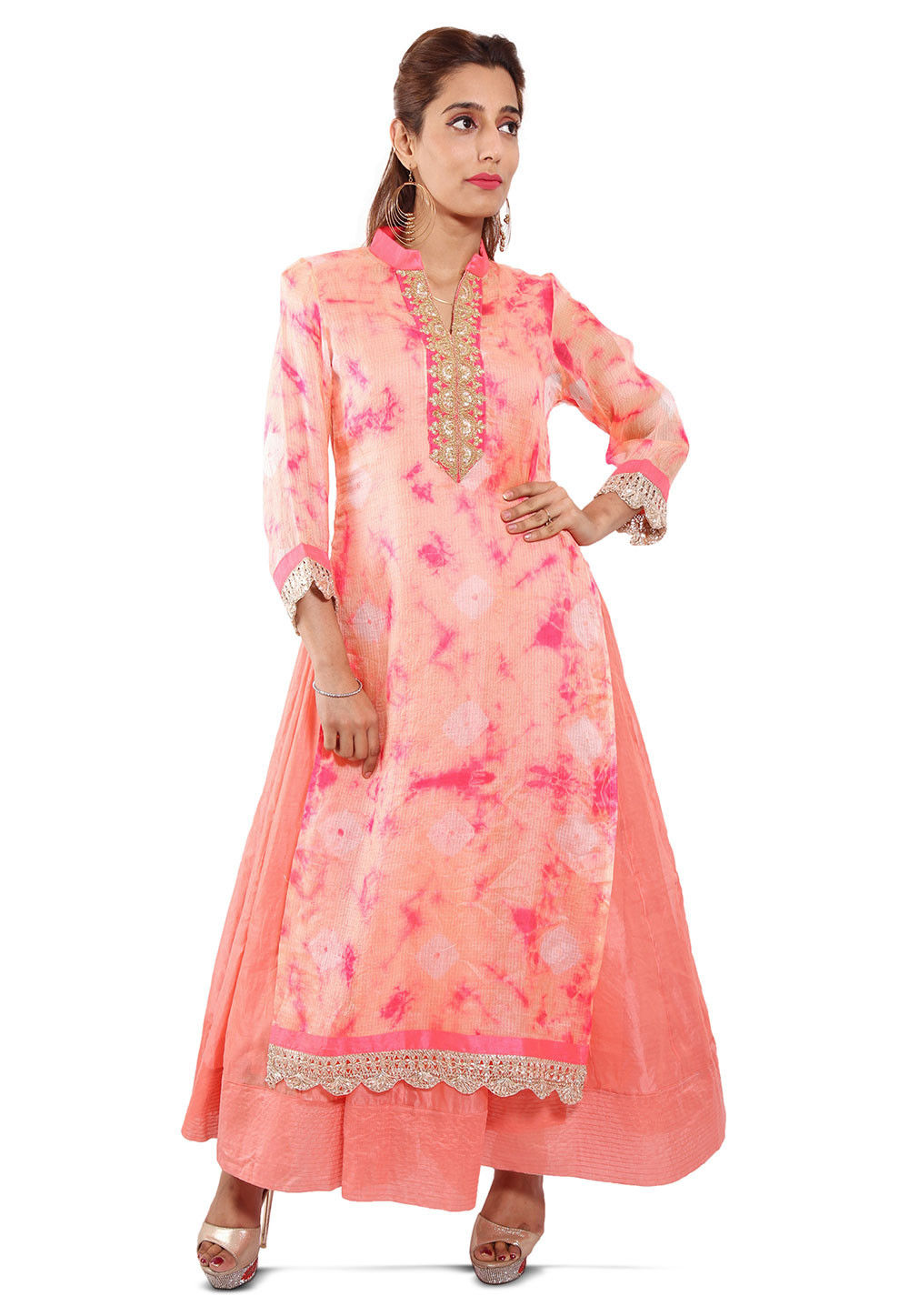 Embroidered Neckline Pure Kota Silk Abaya Style Suit in Peach
