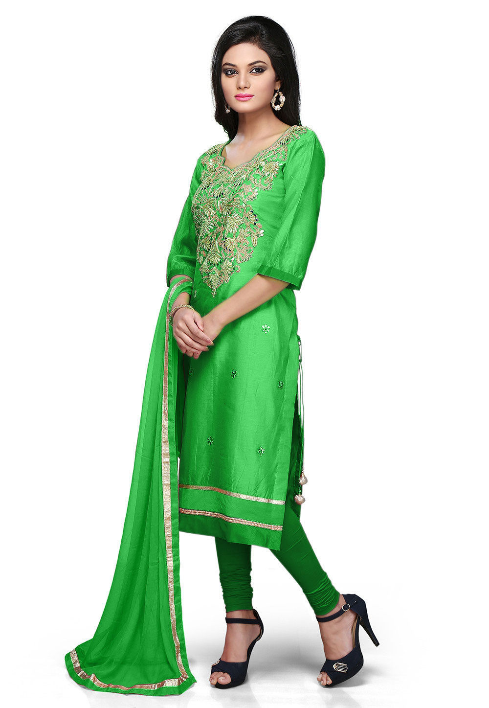 Embroidered Cotton Chanderi Straight Suit in Green