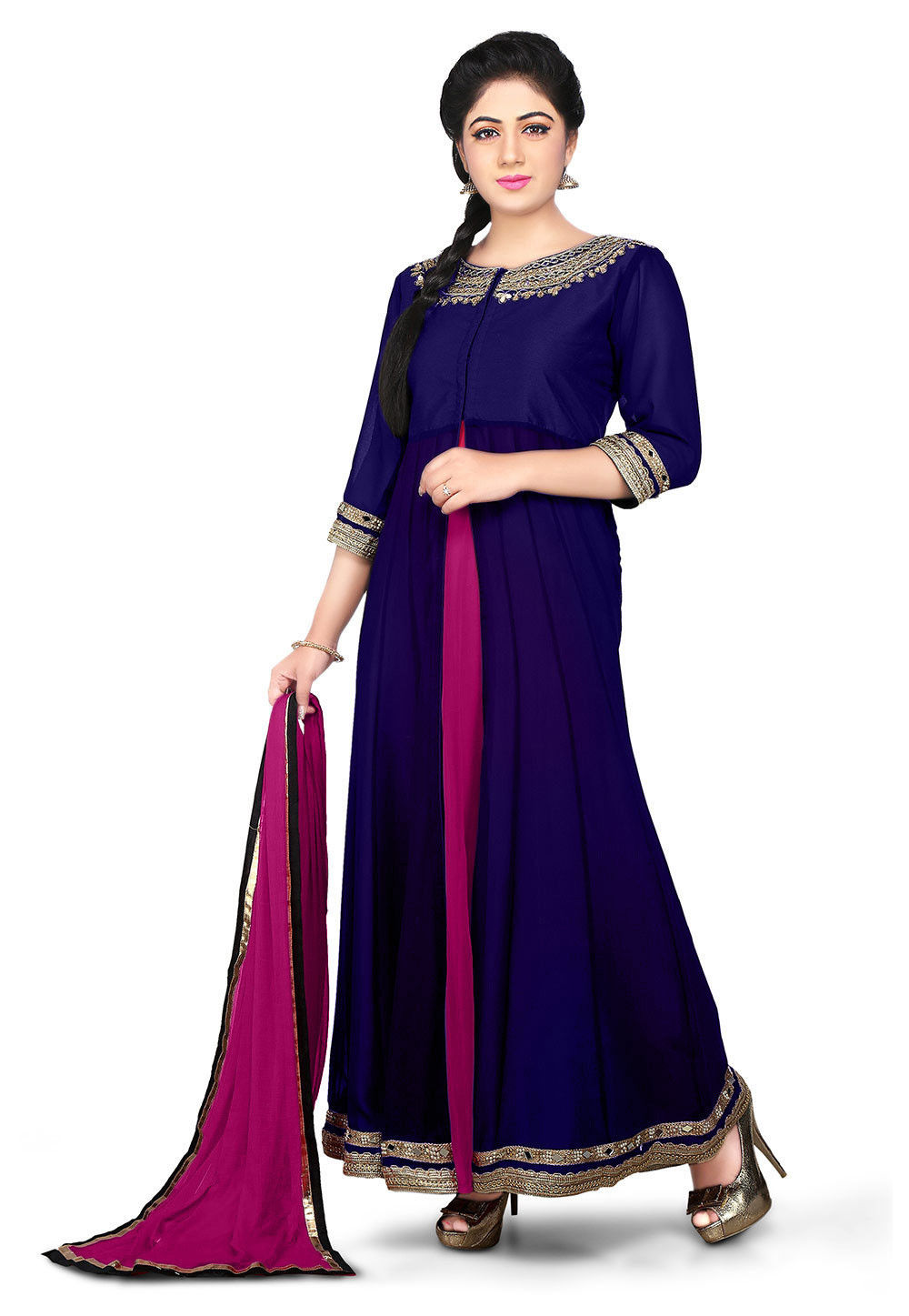 Embroidered Georgette Abaya Style Suit in Indigo Blue and Magenta