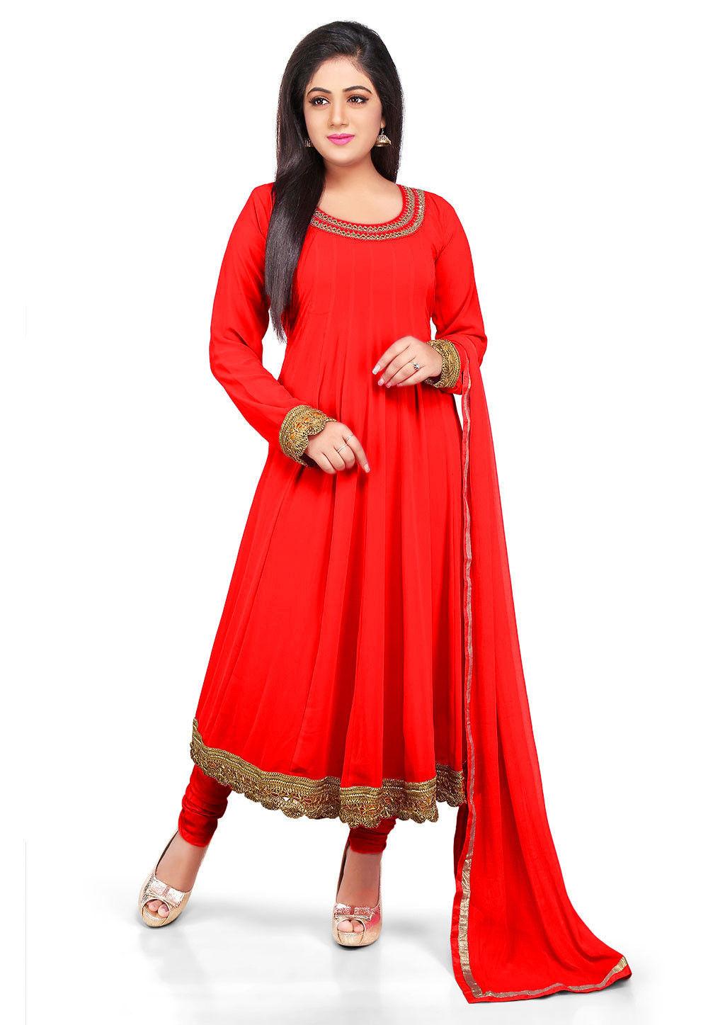 3d773e1ef Plain Georgette Anarkali Suit in Red   KJN2436