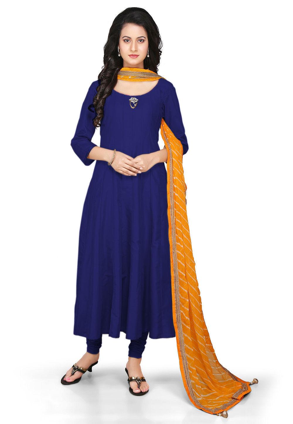 Plain Cotton Silk Anarkali Suit in Dark Blue