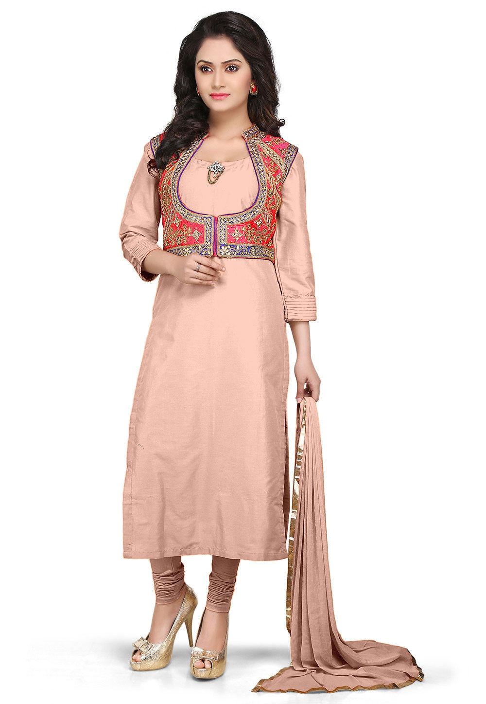 Cotton Silk Anarkali Suit in Peach With Gota Patti Jacket