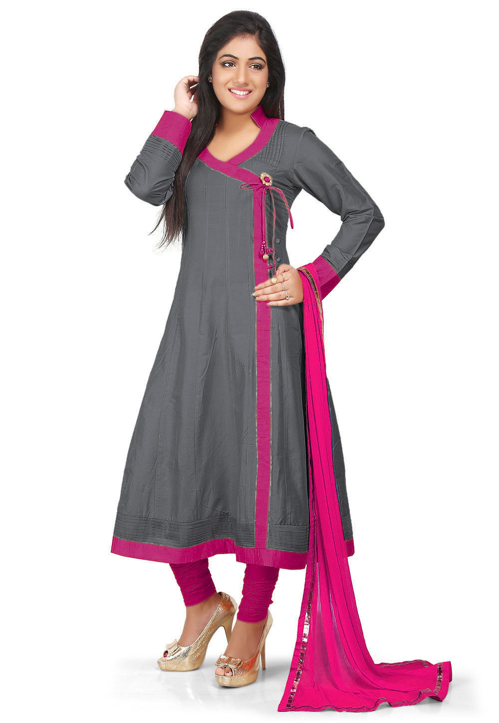 b287149f90 Plain Cotton Silk Angrakha Style Anarkali Suit in Grey : KJN2488