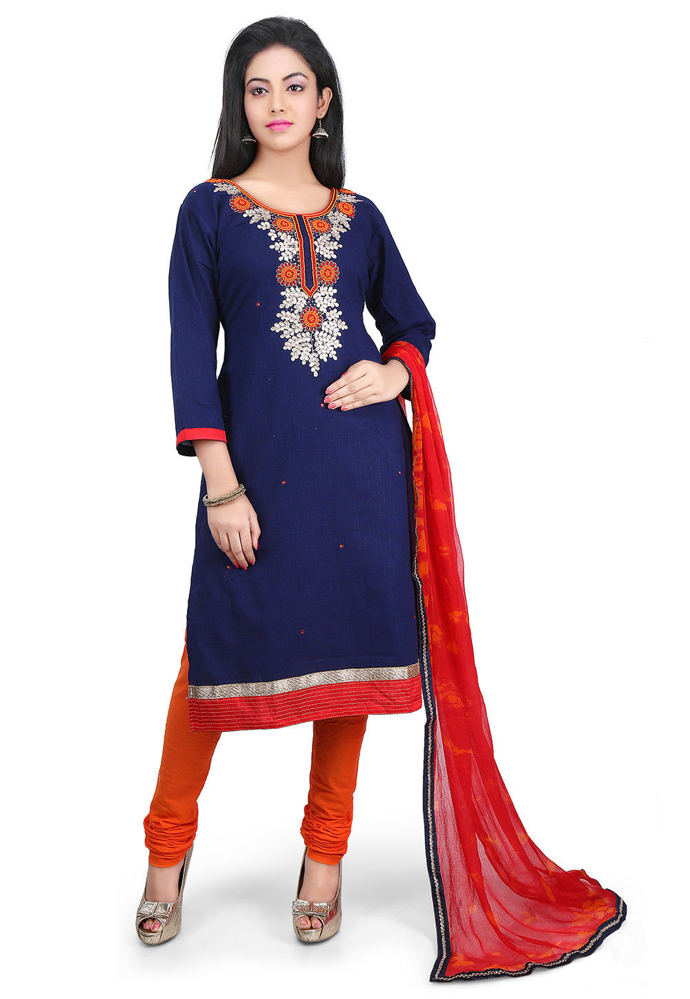 Hand Embroidered Cotton Straight Suit in Navy Blue