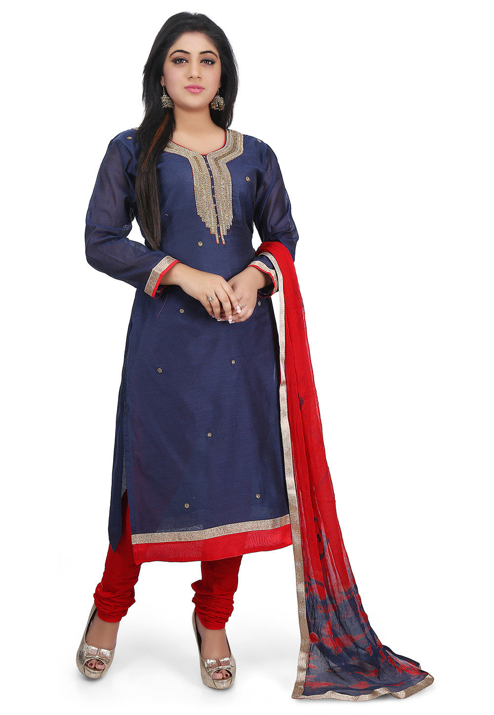 Hand Embroidered Chanderi Cotton Straight Suit in Dark Blue