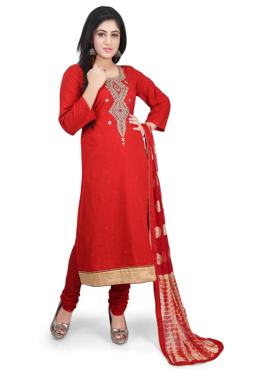 Hand Embroidered Cotton Straight Suit in Red