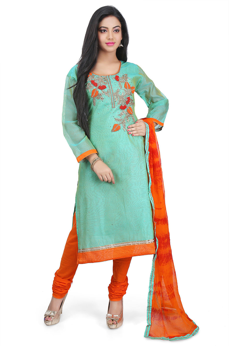 Hand Embroidered Chanderi Cotton Straight Suit in Pastel Green
