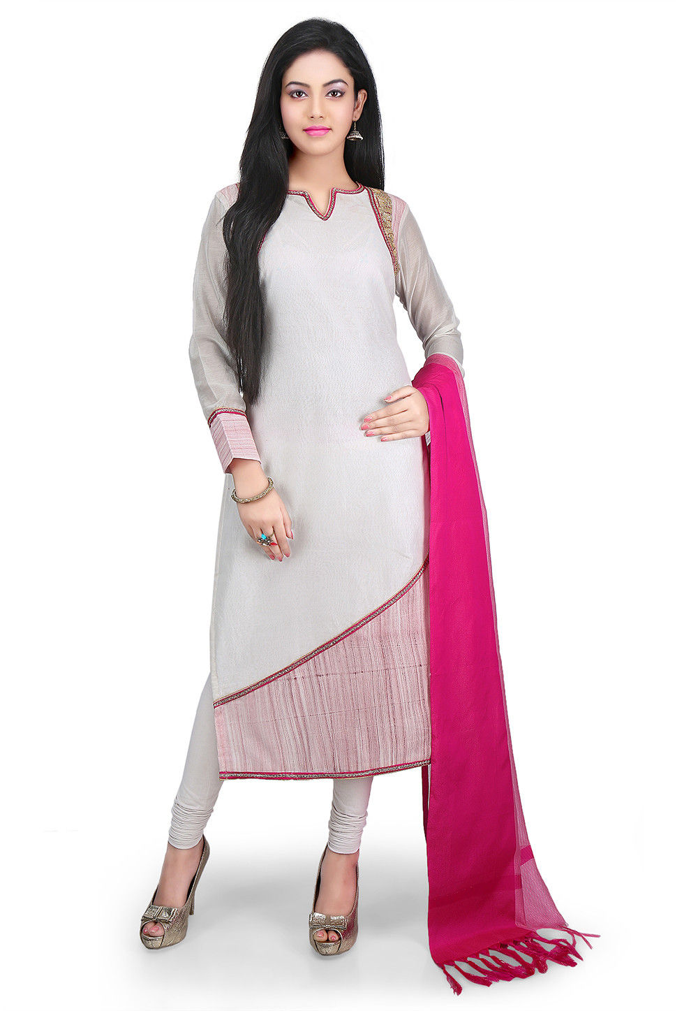 Plain Chanderi Cotton Straight Cut Suit in Off White