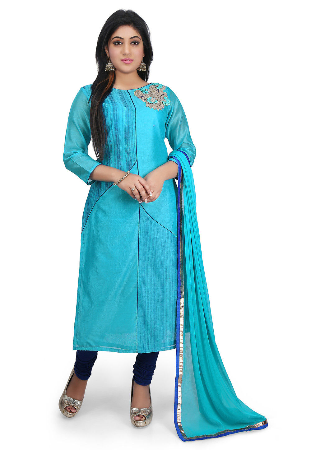Printed Chanderi Cotton Straight Cut Suit in Turquoise