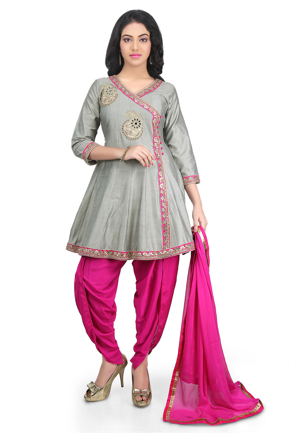 Embroidered Cotton Silk Angrakha Style Suit in Grey